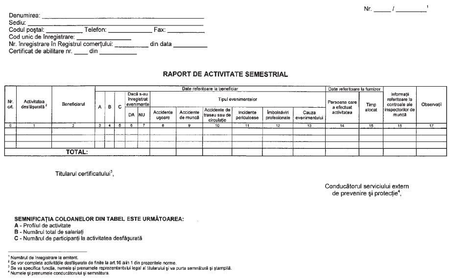 raport de activitate semestrial